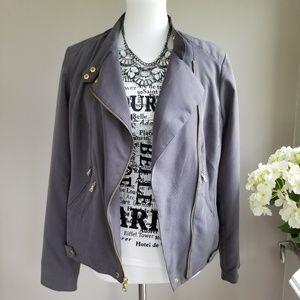 Apt. 9 Moto Style Gray Lined Blazer